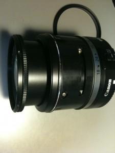 側面ネジ (8)、Canon表示部。EF-S18-55mm F3.5-5.6 II USM