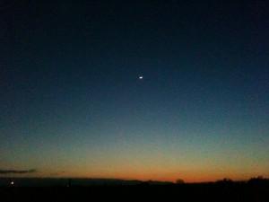 月齢2.7の三日月の下に彗星がいるはずだがw 2013-03-14 089