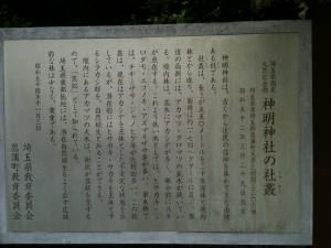 神明神社の社叢、由緒書
